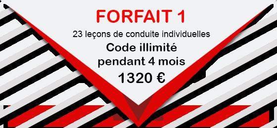 CONDUITE ACCOMPAGNEE  FORFAIT 1 23 leçons de conduite individuelles 1320 € Code illimité pendant 4 mois