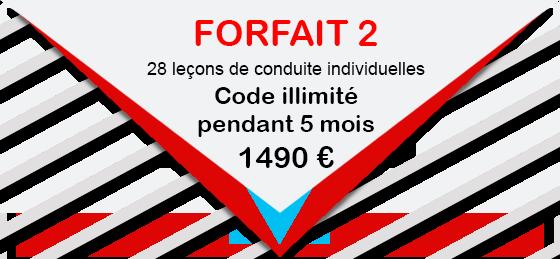 CONDUITE ACCOMPAGNEE FORFAIT 2 28 leçons de conduite individuelle 1490 € Code illimité pendant 5 mois