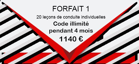 PERMIS B FORFAIT 1 20 leçons de conduite individuelles 1140 € Code illimité pendant 4 mois
