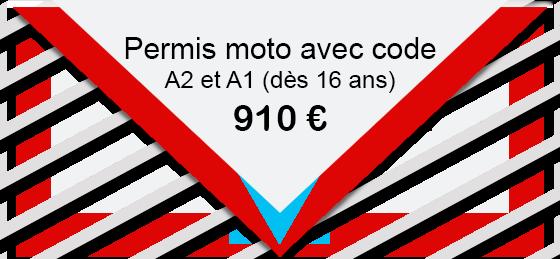 Permis moto avec code A2 et A1 (dès 16 ans) 910 €
